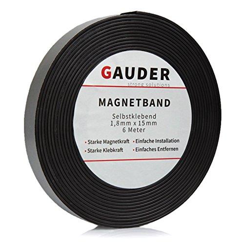 Preisvergleich Produktbild GAUDER Magnetband selbstklebend I Magnetklebeband I Magnetklebestreifen I Magnetisches Klebeband I Magnetstreifen I Schule & Präsentationen