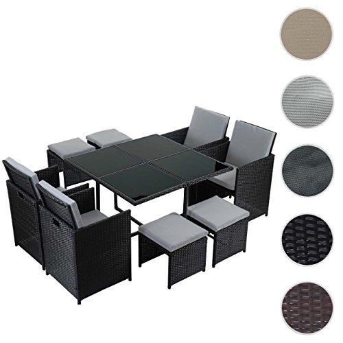Poly-Rattan Garten-Garnitur Kreta, Lounge-Set Sitzgruppe ~ 4 Stühle schwarz, Kissen hellgrau