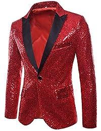 Tefamore Trajes Hombre Chaquetas Americanas Charm Casual Un Botón Fit Suit Traje Blazer Abrigo Abrigo de