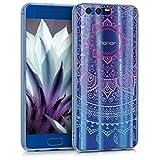kwmobile Cover per Huawei Honor 9/9 Premium - Back Case custodia posteriore in silicone TPU per smartphone - Backcover trasparente blu fucsia trasparente