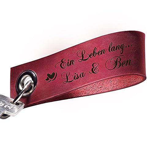 schenkYOU® Schlüsselanhänger aus echtem Leder mit Gravur – bordeaux rot - Key ring Anhänger mit Ihrem Wunschtext graviert - persönliches Geschenk für jeden (Personalisierte Leder Geschenke Für Ihn)