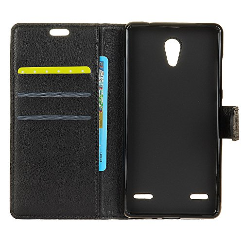 Klassische Litchi Texture PU Leder Schutzhülle Horizontale Folio Flip Stand Case Cover mit Kartensteckplätzen für ZTE BLADE A521 ( Color : Purple ) Black
