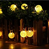 Solar String Lights,DINOWIN Waterproof 20ft 30 LED Solar Crystal Ball String lights, Indoor Outdoor Fairy Globe String Lights,for Garden,Patio,Christmas,Wedding,Home, Party Decoration--Warm White