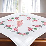 Stickpackung Flamingos, komplettes vorgezeichnetes Kreuzstich Tischdecken Set zum Sticken, Stickset mit Stickvorlage