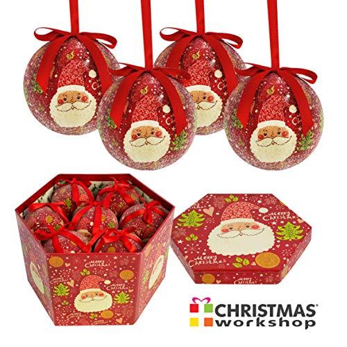 The Christmas Workshop Baubles Gift Set, Red, 7.5cm Diameter
