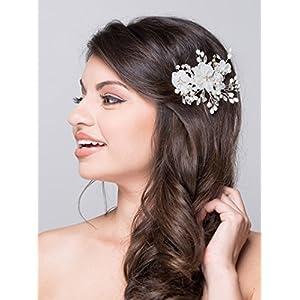 AW BRIDAL Seidenblume Haarkämme Perle Seite Kämme Braut Kopfschmuck Elfenbein