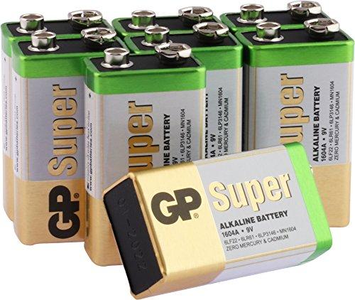 9v batterie 9V Block (6LR61, MN1604, E-Block, 9 Volt) Alkaline Blockbatterie , ideal z.B. für Rauchmelder, Alarm- und Sicherheitsanlagen, Original GP Markenware im 8 Stück Multipack
