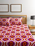 #3: Bombay Dyeing Elements 120 TC Polycotton Double Bedsheet with 2 Pillow Covers - Orange