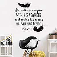 Newly Arrivals Psalm 91:4 Bible Verse Wall Sticker Decal for Bedroom Decor He Will Cover You with.Vinyl Quotes Wallpaper