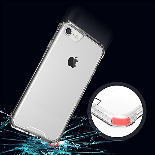 Meimeiwu Anti shock Cover TPU Soft Bumper Case + Transparente Acrylic Custodia Per iPhone 7 - Transparente Transparente
