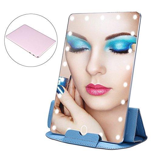 Zjchao LED Espejo Maquillaje, Viajes de Lujo de la luz Ajustable Compone el Espejo con el Caso de Cuero...