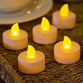LuminalPark - Pack 12 Velas LED TeaLight, luz cálida, efecto llama, pilas incluidas, Luces Decorativas