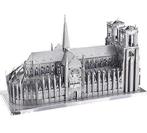 EP-model 3D-Metall-Puzzle-Modell, dreidimensionale architektonische montiert Modell Beleuchtung Notre Dame De Paris, Erwachsenenbildung Spielzeug Geschenk, 4,6