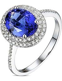 Epinki 18k Oro Anillos para Mujer óvalo Anillo Propuesta Matrimonio Anillo de Diamante con Blanco Azul