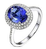 Epinki 18K Gold Damen Ringe Oval Solitärring Verlobungsringe Blau mit Weiß Blau Diamant Tansanit Gr.56 (17.8)