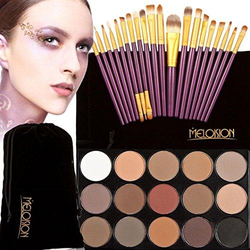 Tonsee 15 Couleur Fard à paupières+ 20 Pcs 20 pièces maquillage brosses Concealer Shadow de poudre pour le visage (Violet+Or)