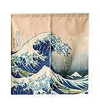 LIGICKY Japanische Gardinen Noren kurz Vorhänge Türvorhang Verdicken Leinen Tapisseri für die Heimtextilien Raumteiler 85 x 90 cm (Ukiyoe Hokusai The Great Wave Off Kanagawa)