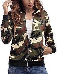 Chaquetas Mujer Militar Camuflaje Otoño Invierno Chaqueta Cortas Abrigos Con Cremallera Slim Fit Manga Larga Bikerjacke