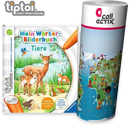 tiptoi Ravensburger Buch Wörterbilderbuch - Mein Wörter Bilderbuch Tiere + Kinder Wimmel Weltkarte - Länder, Tiere, Kontinente   ab 3 Jahre