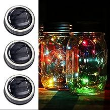 Mason Jar Lights Mesa de jardín LED con energía solar Luces colgantes al aire libre Linternas LED Luces de hadas para decoración, Botella DIY, Al aire libre, Barbacoa, Navidad, Fiesta, Boda, Vacaciones (3p multicolor)
