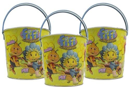 3x Seaside Metal Beach Bucket Cartoon Character Fifi And The Flowertots Size 110mm x 120mm