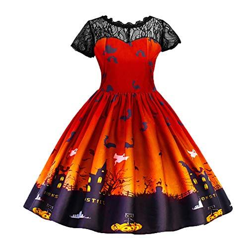 Halloween Plus Kostüm Frauen - Bornbayb M-2XL Halloween Kleider Frauen Damen Plus Größe Mädchen Langarm Party Kleid Fancy Kostüme