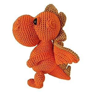 LOOP BABY – gehäkelter orangener Drache – Kuscheltier Drache aus Bio-Baumwolle – Dino orange – personalisiertes Stofftier