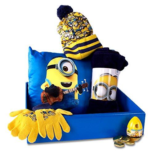 Adventino Minions Geschenk-Set (Winter-/Weihnachtsedition) mit Kissen, Decke, Mütze, Handschuhe ()