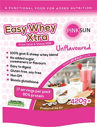 PINK SUN Goat and Sheep Whey Protein Concentrate Powder 420g - Soy free whey protein, grass fed hormone free - Easy Whey Xtra