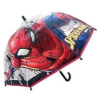 Chanos Marvel Manual Dome Shape Poe Transparent Folding Umbrella, 45 cm, Red
