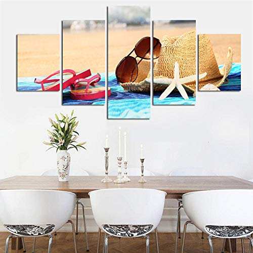 YIPINQUAN 5 leinwandbilder naturHd Strand Sonnenhut Und Sonnenbrille Hausschuhe Sauber Als Wohnzimmer Dekoration Kunst GeschenkGedruckt20x35cmx2 20x45cmx2 20x55cmx1-Gerahmt