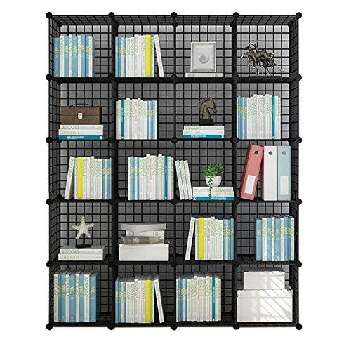JCNFA Bücherregal Regal Cubes Organizer DIY Kunststoffschrank Schrank Modular Schlafzimmer Wohnzimmer Büro (Farbe : Schwarz, größe : 20 Grid 57.87 * 14.56 * 72.04in) - Modulare Büro-schränke