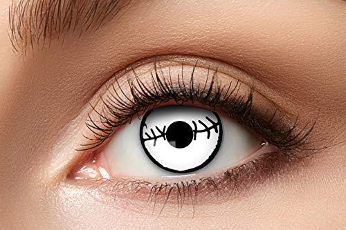 Zoelibat Farbige Kontaktlinsen für 12 Monate, Mummy, 2 Stück, BC 8.6 mm / DIA 14.5 mm, Jahreslinsen in Markenqualität für Halloween, Fasching, Karneval, silver/grau