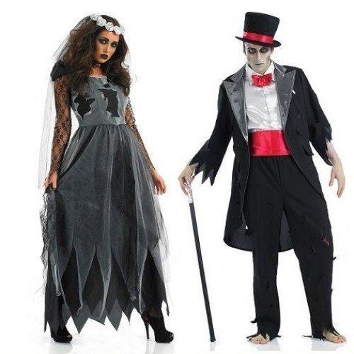 Damen und Herren Paare Dead verstorben Leiche Geist Zombie Braut & Bräutigam Halloween Horror Kostüm Outfit Übergröße - Schwarz, Ladies UK 24-26 & Mens Medium (Leiche Braut, Bräutigam)
