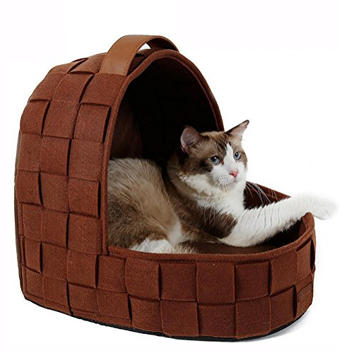 MEIQI Handgefertigte Katze Cave Bett, Natur fühlte Pet House Iglu warme Hund Katze Höhle , Brown