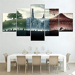 Canvas Moderne Décoration Murale Photo Impressions sur Toile 5 Pièces Le Seigneur des Anneaux Art HD Imprimer Peinture Artworks,B,20 * 35 * 2+20 * 45 * 2+20 * 55 * 1