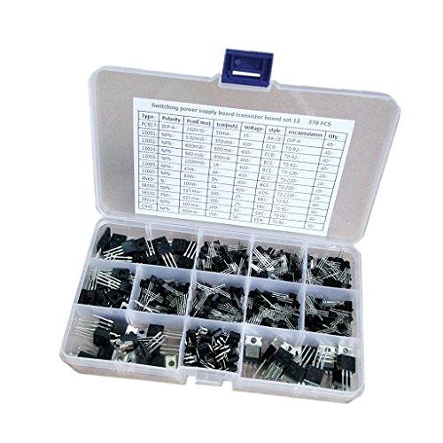 MagiDeal 370 Stück 12 Typen Elektronischen Power Transistor Sortiment Kit Box