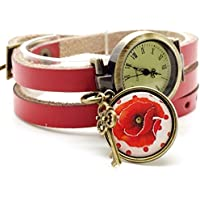 montre cuir bracelet 3 liens cabochon bronze illustré vintage, ofleur, coquelicot, rouge - cadeau noel, cadeau femme, cadeau saint valentin, idée cadeau