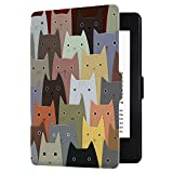 Huasiru Pintura Caso Funda para Amazon Kindle Paperwhite (Versiones 2012, 2013, 2015, 2016 y 2017) Cover con Auto Despertar/Dormir, Gatos