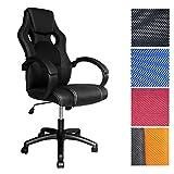 HG® Chefsessel Racing Stuhl Bürostuhl Komfort Drehstuhl PU schwarz mit 79 cm extra hoher Rückenlehne