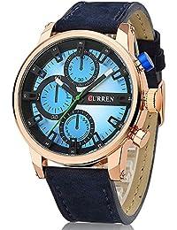 Reloj cronógrafo de hombre de piel Curren correa oro rosa negro y azul
