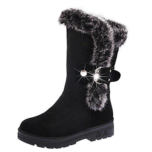 YWLINK Damen Winterstiefel Winter Stiefeletten Snow Boots Flach Outdoor Schuhe Schlupfstiefel Warm GefüTtert Frauen Winterschuhe Halbschaft Stiefel (37 EU,Schwarz)