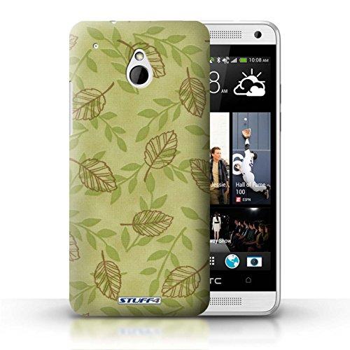 Kobalt® Imprimé Etui / Coque pour HTC One/1 Mini / Vert/Brown conception / Série Motif Feuille/Branche Vert/Brown
