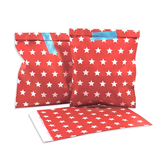 (25 Frau Wundervoll Papiertüten - rot, weiße Sterne - / Geschenktüten / Candy Paper Bags)