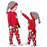 Bovake Noël Enfant Bébé Jeune Fille Garçon Costumes Vêtements T-shirt Petit Bonhomme de Neige D'impression Manches Longues enSemble Pantalon (90, Rouge)