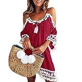 Damen Kleid Rosennie Damen Strandponcho Sommer Strand Bikini Coverup Frauen häkeln Chiffon Quaste Strandkleid Sommerkleid für Frauen Badebekleidung Bademode Badeanzug