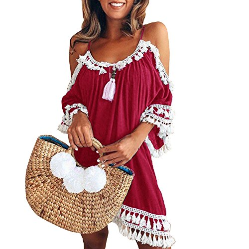 JIUZHOU Damenmode Frauen aus Schulter Kleid Quaste Kürze Cocktailparty Strandkleider Sommerkleid ()