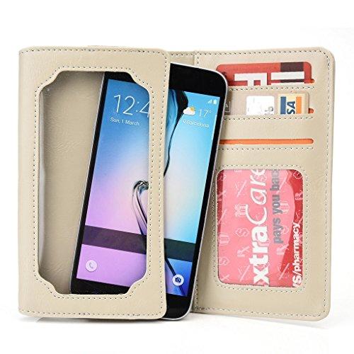 Kroo Portefeuille unisexe avec Alcatel Pop D3/Pop S3/OT-992D ajustement universel différentes couleurs disponibles avec affichage écran Beige - beige Beige - beige