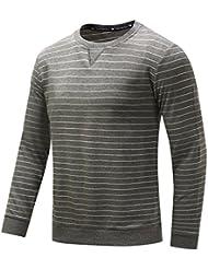 Printemps Automne Hommes T-shirt à rayures en coton pur décontracté Manteau à col rond M-2XL