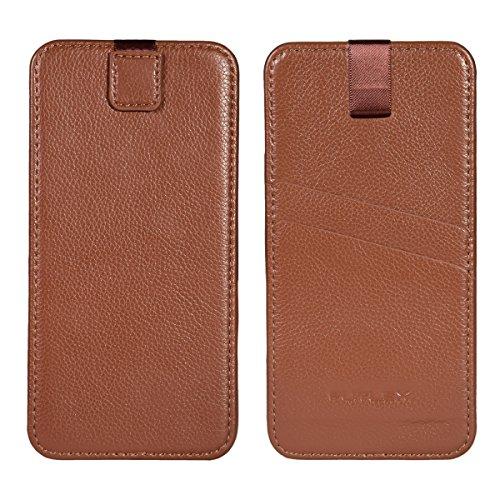 """Astuccio per iPhone 7 Plus / 6 Plus / 6S Plus (5.5""""), Custodia FUTLEX in vera pelle, stile classic - Linguetta a strappo - Custodia - Custodia a scorrimento - Marrone"""
